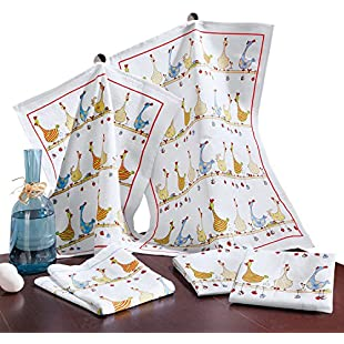 5-pk tea towels terry colourful