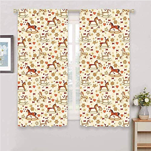 Toy Horse Grommet Window Curtain Vintage Rocking Horse Toy With Star And Bow Tie Grunge Elements Christmas Theme Full Light Blocking Drapes Multicolor Window Curtain for Living Room 76'x45'Inch