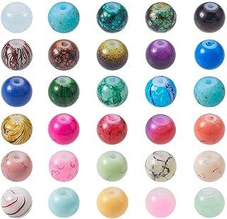 8mm PandaHall Elite Trou: 1.5mm 10 Couleurs 350pcs Perles Acryliques Transparentes Perle Rond pour la Fabrication de Bijoux