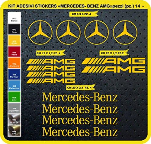 Aufkleber-Set Mercedes Benz AMG - 14 Tuning Auto- Car 0744, Gelb (021 Giallo)