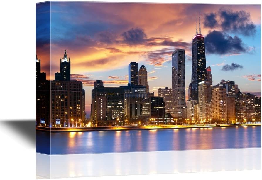 wall26 - Chicago Skyline at Dusk Gallery - Canvas Art Wall Art - 16