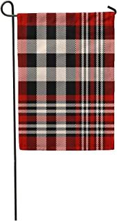 """Semtomn Seasonal Garden Flags 28"""" x 40"""" Country Tartan Plaid Pattern Checkered in Stripes of Dark Red Black and Beige Abstract Outdoor Decorative House Yard Flag"""