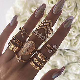 Asooll Vintage Gold Mid Ring Set Crystal Rhinestone Stack Rings Fashion Joint Knuckle Nail Ring Set for Women and Girls (13pcs)