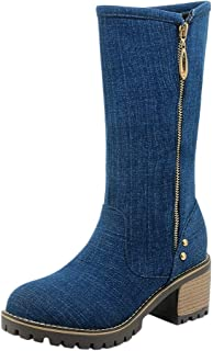 ♫Loosebee♫ Winter New Solid Color Women Fashion Round Toe Thick Heel Casual Shoe Side Zipper Denim Mid-Calf Boots