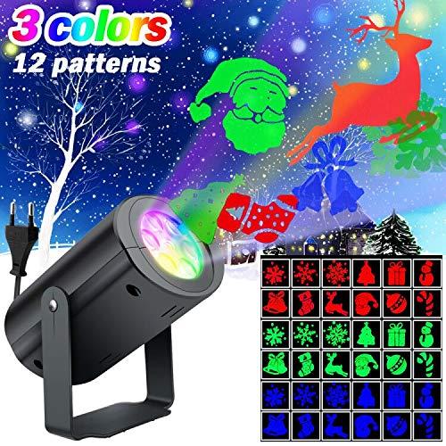 SunTop Proiettore Luci LED Natale, Proiettore Natale Luci Natalizie, LED Rotazione di Proiettore Illuminazione LED Luce per Natale, Matrimonio, Halloween, Compleanno, Festa, Giardino