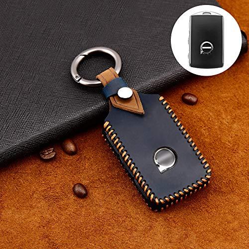 ontto Coque de clé de Voiture Compatible avec Volvo XC40 XC60 XC70 XC90 S60 S90 S80 C30 V70 V90 2017-2020Étui Cas pour télécommande de clé Voiture en Cuir Protection de clé avec Porte-clés-Bleu