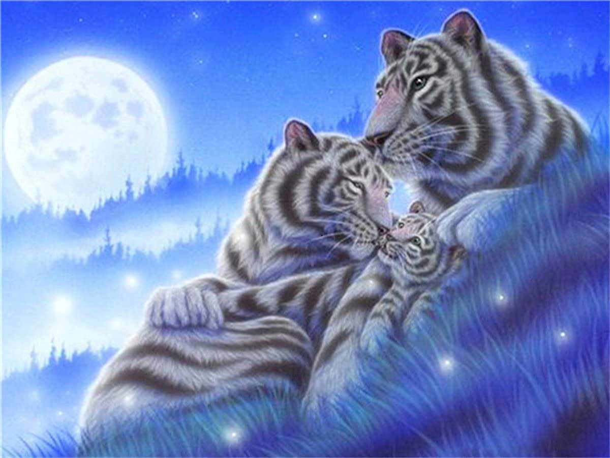 Full Diamond Painting White Tiger Under The Pain 5D Moon Ranking Tampa Mall TOP16