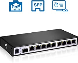 8 PoE Port Switch - Smart Managed Gigabit Switch, Up to 120W Power Supply, Support Web Management, SFP, VLAN, QoS Controls, Fanless Quiet, Ideal for Small & Medium Business, Home Use