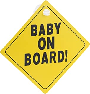 """infactory Baby-Schilder für Autos: Schild""""Baby on Board"""" mit Saugnapfbefestigung, PVC, 135 x 135 mm (Baby-an-Bord-Schilder)"""