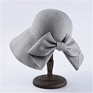 Hbssee- Women's New Sun Hat Big Bow Hat Solid Color Wild Travel Dome Beach Hat Knit Foldable Sun Hat (Color : Grey)