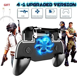 GameCorfara Mobile Game Controller for PUBG 4-in-1 Upgrade Version Cool Phone Holder Gamepad Shoot and Aim Trigger Joystick Physical Buttons Phone Cooling Pad Power Bank(4000Mah)