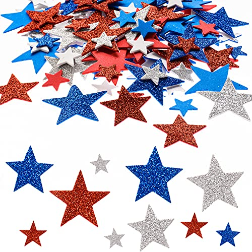 MixTeach 540 Pcs 4 Size Glitter Star Foam Sticker Red Blue Silver Assorted Patriotic Foam Stickers Self-Adhesive Stickers for Kids Class Independence Day Party Decoration Supplies