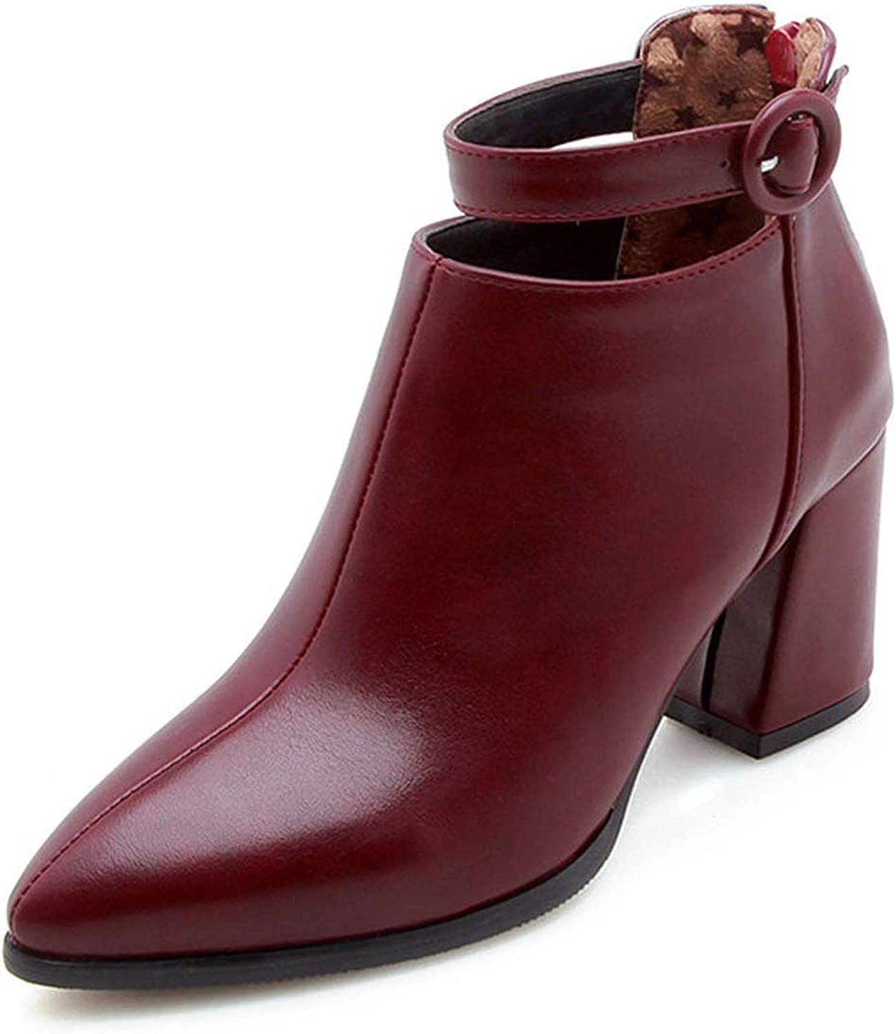 Meet- fashion Pointed Toe Square Heel Women Boots Buckle Ankle Zipper High Heel Boots shoes Woman Large Size
