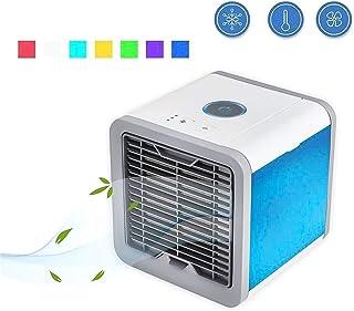 Umiusiyun Mini ventilador USB 3 en 1 mini aire acondicionado portátil, humidificador, purificador con 7 colores LED noche para el hogar