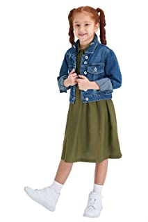 DeFacto Button Down Roll-Up Long Sleeves Ripped Jeans Jacket for Girls