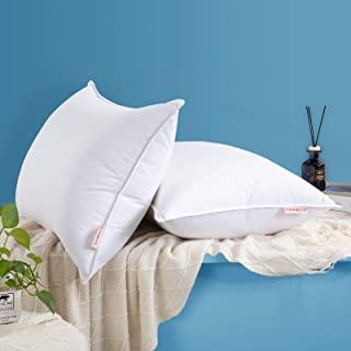HOMBYS Ultra Soft Goose Down Feather Bed Pillow Inserts for Sleeping, King Size Pillows Set of 2, 45oz Fill Weight Medium ...