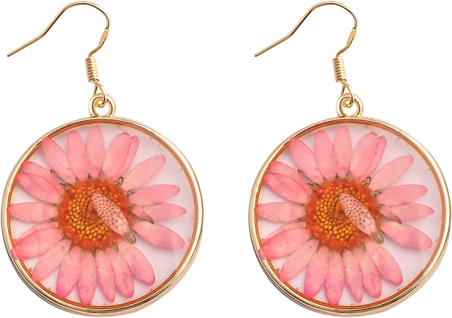 real pink flower resin jewelry set pink daisy necklace Jewlery set pressed real flower jewelry resin jewelry pink daisy dangle earrings