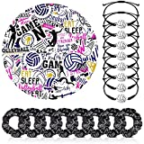 8 Pieces Volleyball Hair Scrunchies 8 Volleyball Rope Bracelet 100 Volleyball Sticker Sport Elastic Hair Tie Adjustable Woven Wristband with Volleyball Charm Motivational Waterproof Sticker for Player