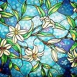 Lifetree Casa pellicole-per-vetri Privacy-Pellicola Film statico-Adesiva Fiore-Blu 45 * 200cm