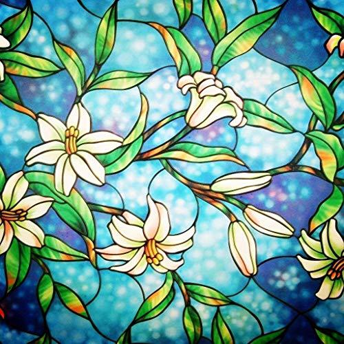 Lifetree Fensterfolie Glasmalerei Dekofolie Privatsphäre Sichtschutzfolie Statisch haftenden Glasaufkleber Ohne Klebstoff Milchglasfolie Orchidee 44.5 x 200 cm
