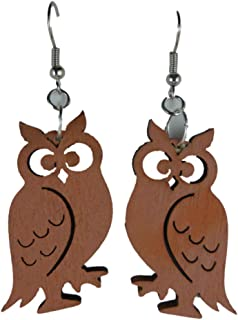 Star Ohrringe Hänger Ohrhänger Eule Holz beige braun Owl Vintage Upcycling 8500