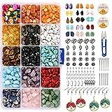 Showgeous cuentas de piedras preciosas con chips naturales para kits de fabricación de joyas, 15 colores, chips irregulares, cuentas de piedra, juego de cuentas sueltas de cristal curativo