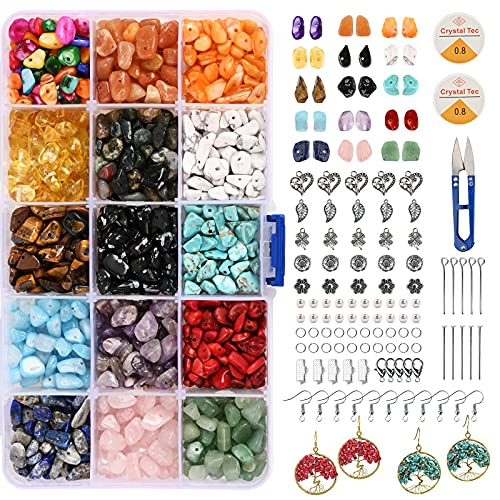 Showgeous cuentas de piedras preciosas con chips naturales para kits de fabricación...