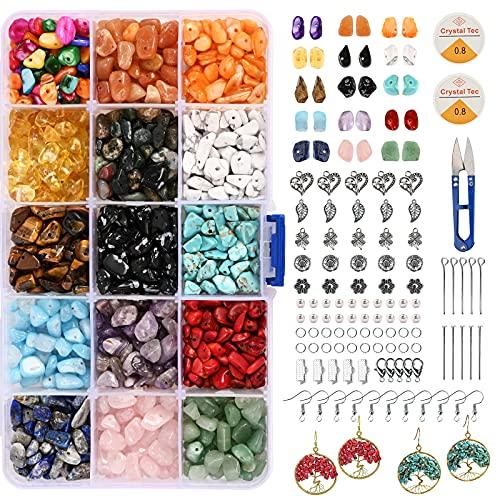 Splendide perle di pietre preziose con chip naturali per kit di creazione di gioielli 15 colori Chip irregolari Perline di pietra Cristallo curativo Perline sfuse per la creazione di collane