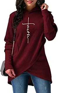 Surprise S Hoodies Sweatshirts Women Pocket Faith Embroidery Warm Hooded Pullover Tops Plus Size