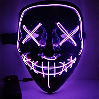 LanMent Purge Mask Halloween Light Blue LED, Funny Scary Cosplay Light up Masks