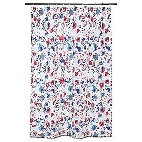 Duschvorhang, weiß, mehrfarbig, dicht gewebtes Polyester, wasserabweisend, Produktgröße: Gewicht. : 116 g/m2, Länge: 180 cm, Breite: 180 cm, Fläche: 3,24 m², Flächendichte: 116 g/m2