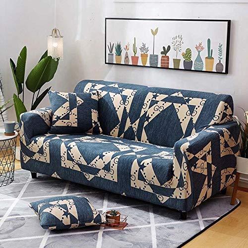 WXQY Funda de sofá de Hoja Verde Funda de sofá elástica para Sala de Estar, Funda de sofá de Esquina en Forma de L, Funda de sofá de Sala de Estar con Todo Incluido A1 1 Plaza