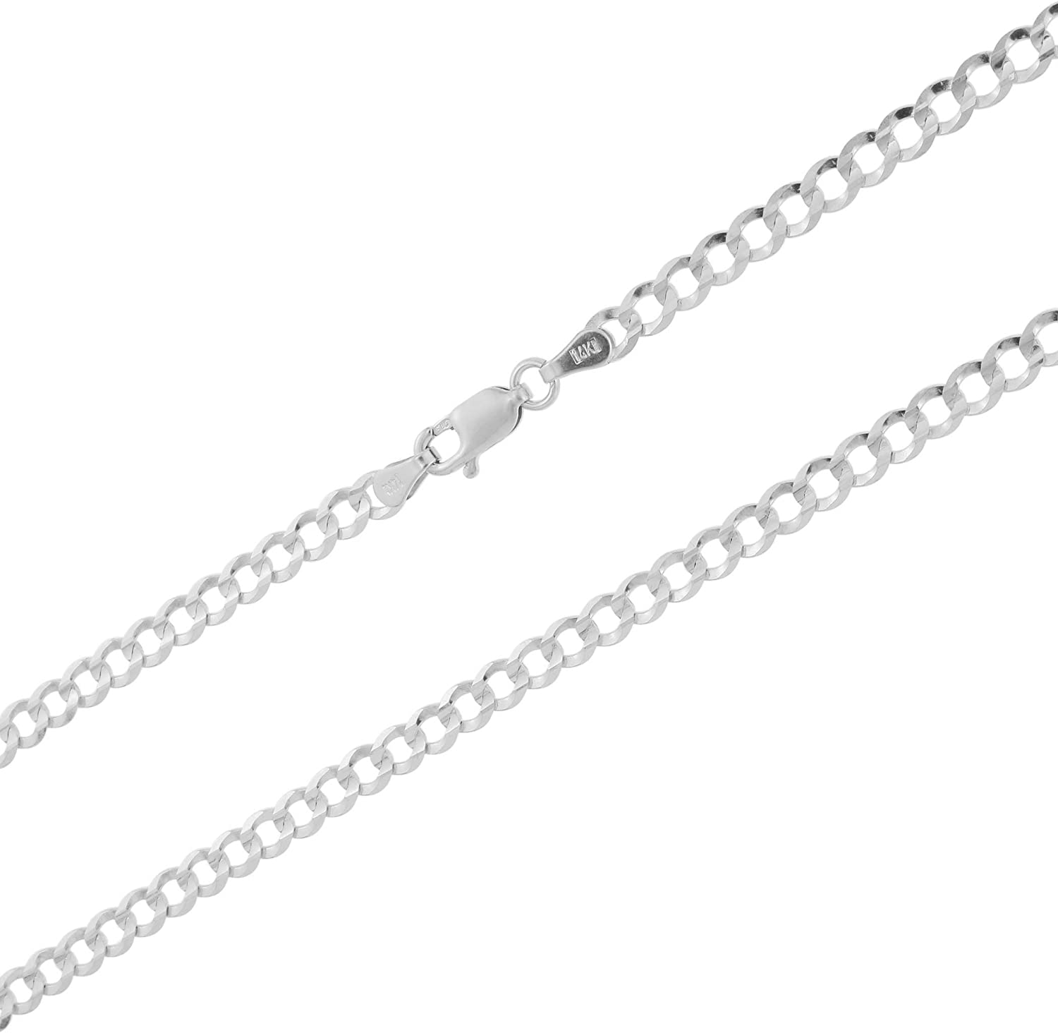 Nuragold 14k White Gold 4mm Solid Cuban Link Chain Curb Pendant Necklace, Mens Womens Lobster Lock 16