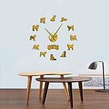 Reloj de pared Decoración familiar Etiqueta de la pared Regalo de vacaciones Akita Inu Breed Reloj de pared Cachorros Hakata Etiqueta de la pared Sin marco DIY Gran mesa Decoración de la habitación R