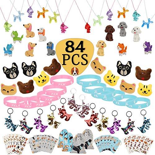 Juego de 84 favos de la fiesta de la pata del perro, paquete de juguete, broche de perro, llavero, pulsera luminosa de tatuaje, borradores, bolsa de regalo para niños, bolsas de regalo de cumpleaños,