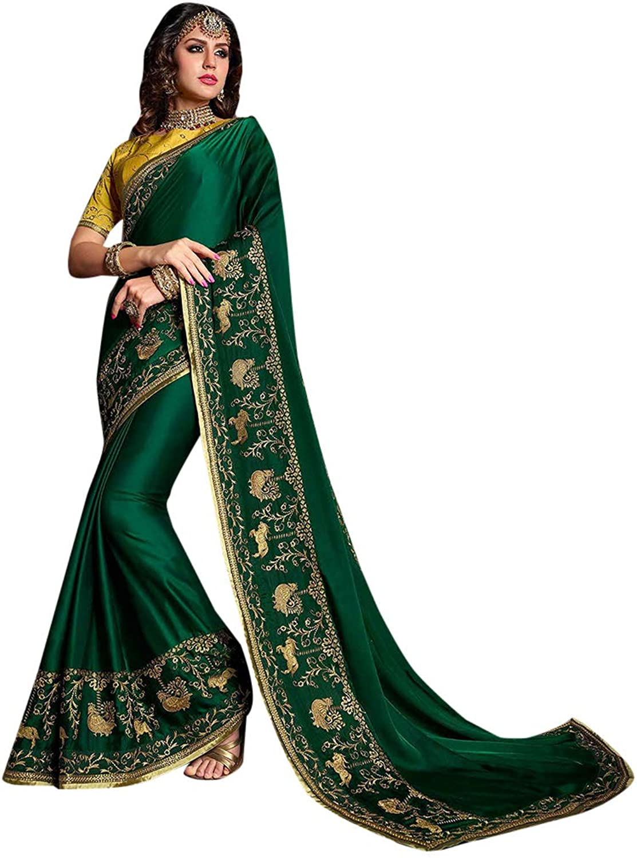Designer Stylish Green Resham Silk Saree with Blouse for Women Indian Festive Party wear Sari 7559