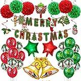 Diantai - Juego de accesorios para colgar globos de Navidad (lentejuelas, globos, campanas, fiesta, decoración para el árbol de Navidad, decoración para fiestas y el hogar o el año nuevo