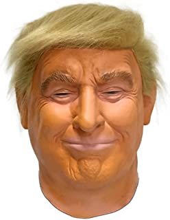 Realistic Donald Trump Natural Latex Face Mask with Wig Celebrity President Halloween Costume Make America Great Again Mask White