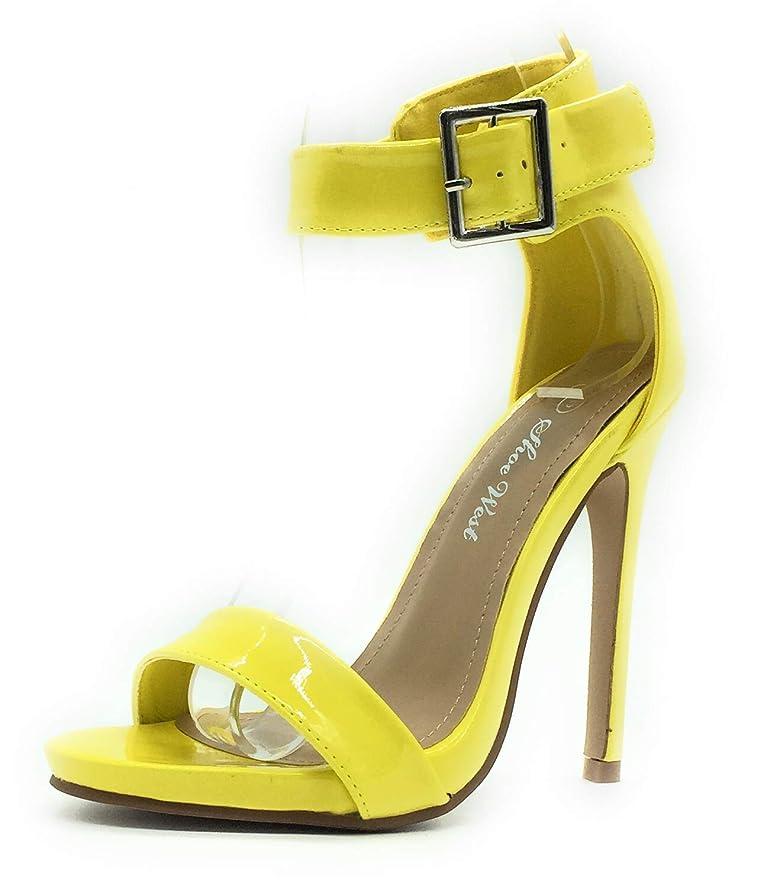 Sexy Open Toe Pump Shoes -Cross Strap Party Dress Platfoms Ankle Strap Dress High Heels Stilettos Yellow pat 7
