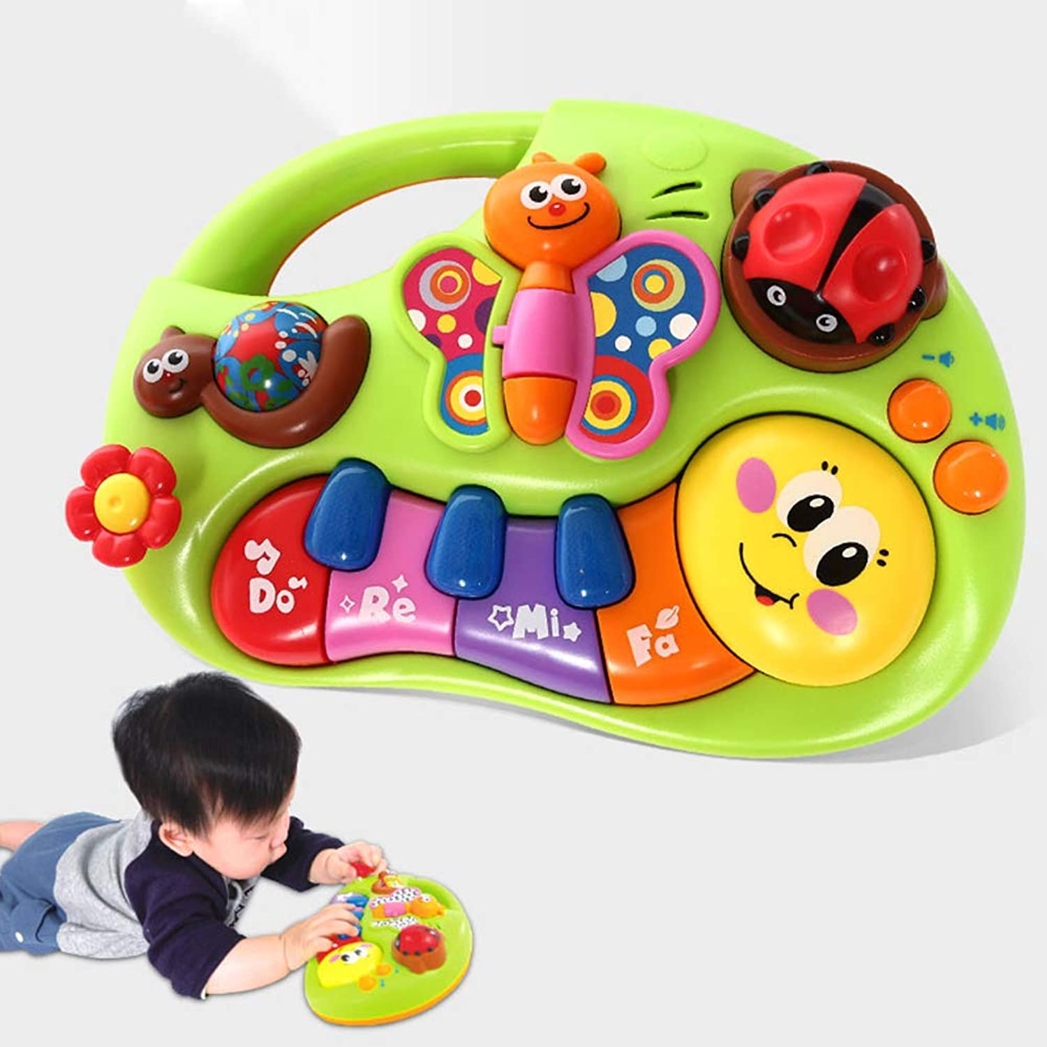 EDTara Piano Musical Toys,Electronic Music Piano Keyboard Drums Learning Toy for Baby Infant Toddler Kids,Cartoon Piano Gifts Instrument Toys