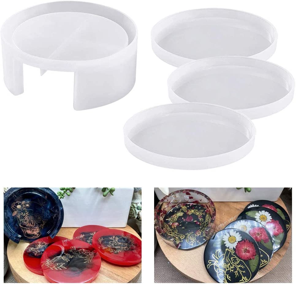 Coaster Resin Mold 4PCS Round Ranking TOP12 with Holder Indianapolis Mall Molds f