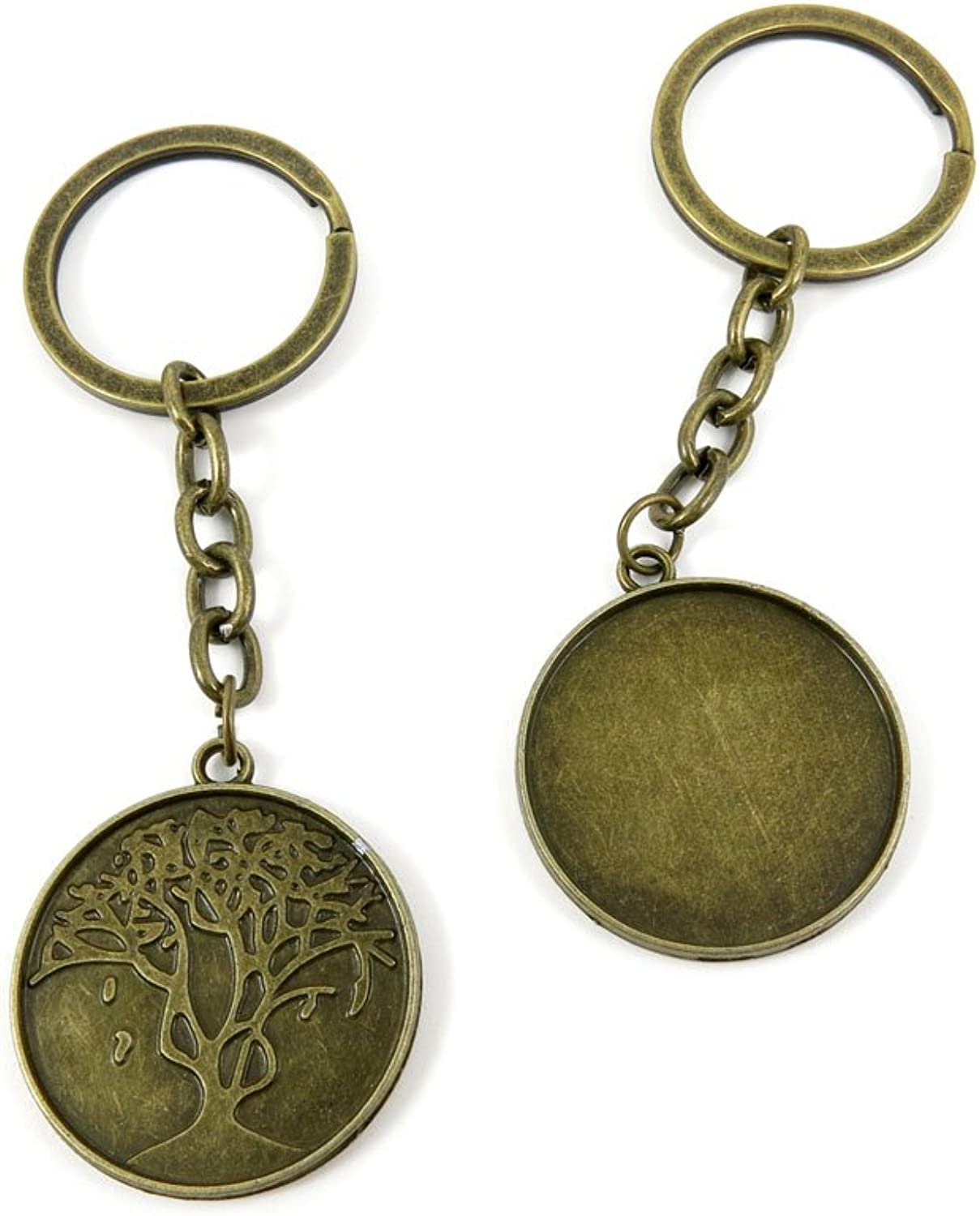 80 PCS Keyring Car Door Key Ring Tag Chain Keychain Wholesale Suppliers Charms Handmade E5DJ8 Round Cabochon Frame Base