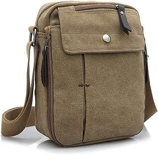 Men and Ms Classic Canvas Messenger Shoulder Bag, Adjustable Shoulder Crossbody Convenient Retro Style Sling Bag Leisure Hiking Sports Outdoor Khaki, Brown, Black (Color : Khaki)