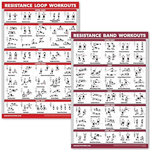 """QuickFit 2 Pack - Resistance Bands and Resistance Loops Workout Posters - Set of 2 Laminated Charts - Resistance Band Tubes and Loops Exercise Charts (Laminated, 18"""" x 27"""")"""