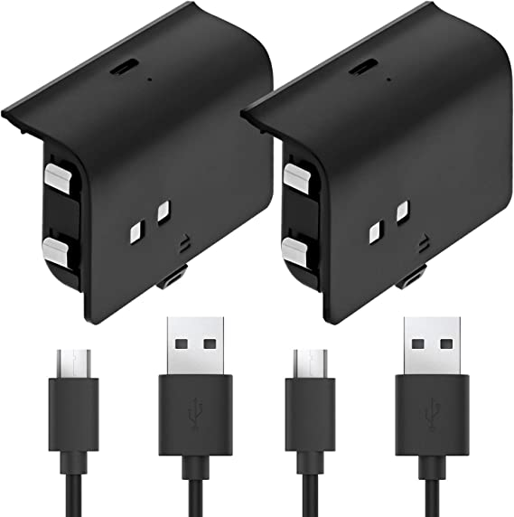 Fosmon Xbox One Controller 1000mAh Play and Charge Rechargeable Battery Pack (2 Pack) with 10FT Micro USB Charging Cable for Xbox One S/X/Elite Controller
