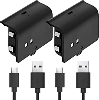 Fosmon Play and Charge Rechargeable Battery Pack Compatible with Xbox One S X Elite Controller (2 Pack), with Micro USB Ca...