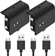 Controlador Xbox One Pacote de bateria recarregável de 1000 mAh para reprodução e carregamento (2 pacotes) com cabo de car...
