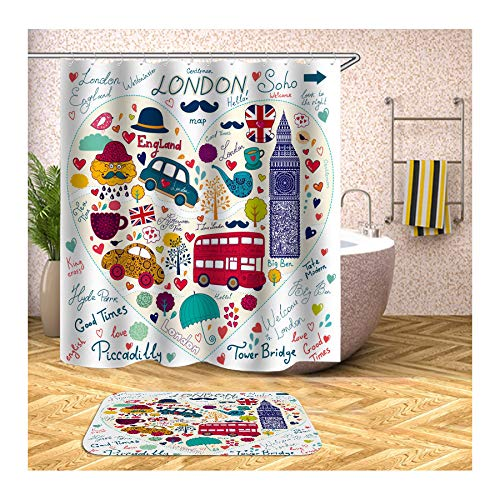 Beydodo Badematten Set 120x180 Badezimmer Duschvorhang, London Soho Badezimmerteppich rutschfest 40x60 cm