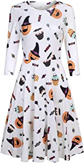 Qearal Womens Halloween 3/4 Sleeve Round Neck Casual Printed A Line Flared Party Dress
