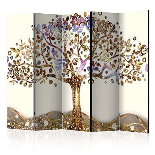 murando Raumteiler Baum Foto Paravent 225x172 cm beidseitig auf Vlies-Leinwand Bedruckt Trennwand Spanische Wand Sichtschutz Raumtrenner beige Gold braun l-A-0002-z-c